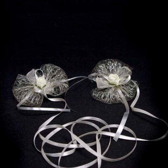 Украса за сватбени чаши или свещи модел 8